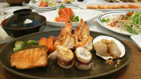 Grilled seafood, Japanese dish. Japanese food, hot,  fresh and yum Royalty Free Stock Photos