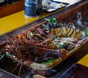 Seafood at traditional restaurant royalty free stock image