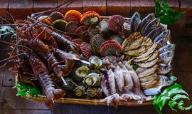 Seafood at traditional restaurant Royalty Free Stock Photo