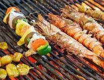 GRILLED SEAFOOD King tiger prawn shrimp Stock Image
