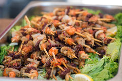Grilled seafood mix Royalty Free Stock Images