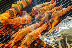 Grilled Seafood On The Grill Royalty Free Stock Photography