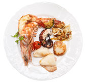 Grilled seafood on a plate, isolated stock images
