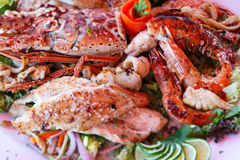 Grilled seafood platter Stock Image