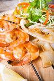 Grilled seafood skewers Stock Images