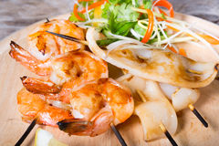 Grilled seafood skewers Royalty Free Stock Images