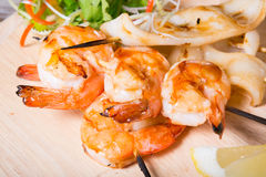 Grilled seafood skewers Royalty Free Stock Photography