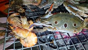 Grilled seafood on the stove. stock footage