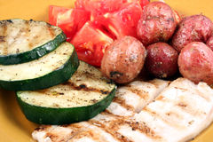 Grilled Seafood & Vegetables Stock Photos