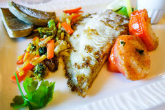 Grilled seafood and vegetables-french cuisine dish Stock Photography
