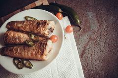 Grilled shad with tomato Royalty Free Stock Photos