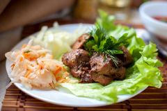 Grilled shashlik with  cabbage and salad. Grilled shashlik with pickled cabbage and salad and fragrant herb Royalty Free Stock Images