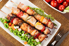 Grilled shashlik with vegetables Royalty Free Stock Photo