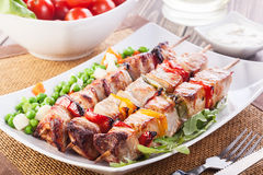 Grilled shashlik with vegetables Royalty Free Stock Photos