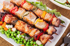 Grilled shashlik with vegetables Royalty Free Stock Image