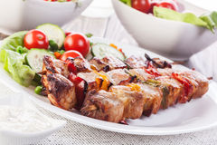 Grilled shashlik with vegetables Stock Photography