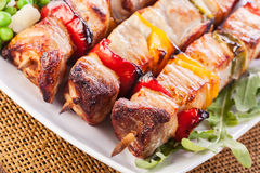 Grilled shashlik with vegetables Royalty Free Stock Photography