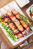 Grilled shashlik with vegetables Stock Image