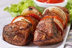 Grilled shashlik with vegetables and sauce macro. Horizontal Stock Photos