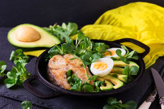 Grilled sheatfish fish steak with avocado, arugula and salad Royalty Free Stock Image