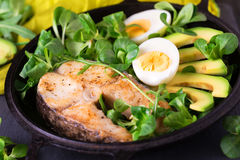 Grilled sheatfish fish steak with avocado, arugula and salad Stock Image