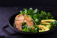 Grilled sheatfish fish steak with avocado, arugula and salad Stock Images