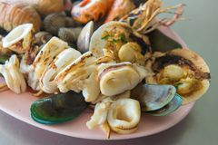 Grilled of Shellfish crustacean lobster and mussels seafood Royalty Free Stock Photos