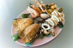 Grilled of Shellfish crustacean lobster and mussels seafood.  royalty free stock images