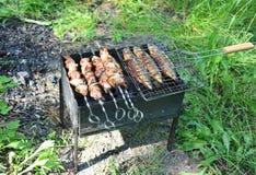Grilled shish kebab and fish Royalty Free Stock Images