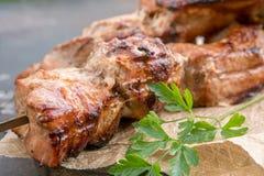 Grilled shish kebab or shashlik on skewers closeup Royalty Free Stock Photos