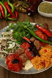 Grilled shish kebab with tomatoes on the skewers Royalty Free Stock Image