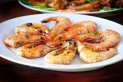 Grilled shrimp. The delicious of grilled shrimp Royalty Free Stock Photography
