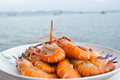 Grilled Shrimp. On the sea background Royalty Free Stock Images