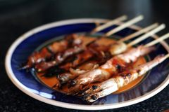 Grilled shrimp royalty free stock photography