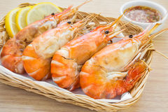 Grilled Shrimp in basket Stock Photography