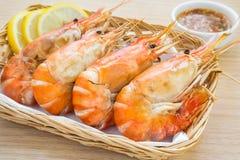 Grilled Shrimp in basket. Grilled Shrimp in wicker basket Stock Photography