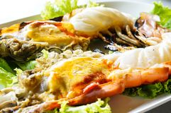 Grilled shrimp. Grilled big shrimp served with fresh lettuce Royalty Free Stock Image