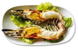 Grilled shrimp. Grilled big shrimp served with fresh lettuce Stock Image