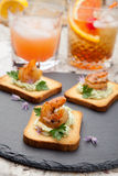 Grilled Shrimp Canape Stock Images