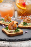Grilled Shrimp Canape Stock Image