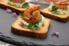 Grilled Shrimp Canape Royalty Free Stock Photo