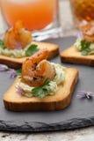 Grilled Shrimp Canape Stock Photos