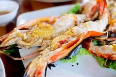 Grilled shrimp closeup Royalty Free Stock Photos