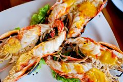 Grilled shrimp closeup top view Stock Photo