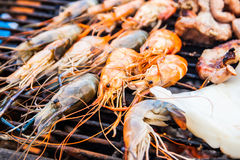 Grilled shrimp on the flaming Royalty Free Stock Photo