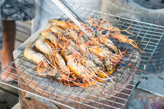 Grilled shrimp on grill with stove in background. Royalty Free Stock Image