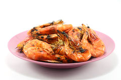 Grilled shrimp isolate on a white Stock Images