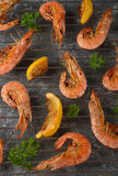 Grilled shrimp with lemon Stock Photo