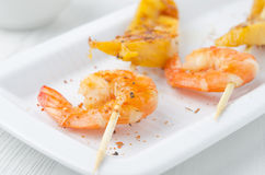 Grilled shrimp and mango in the glaze closeup Stock Photo