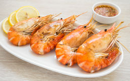Grilled Shrimp on plate Royalty Free Stock Photography